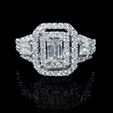 Diamond 18k White Gold Emerald Cut Double Halo Ring