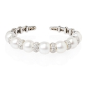 Diamond and Pearl 18k White Gold Bangle Bracelet
