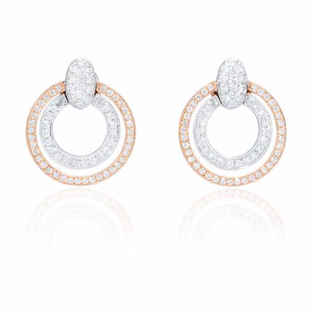 Simon G Diamond Antique Style 18k Two Tone Gold Earrings