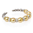 2.60ct Diamond and Pearl 18k White Gold Bangle Bracelet