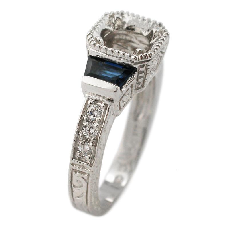 17ct Diamond & Blue Sapphire Antique Style Platinum Engagement Ring Moun