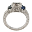 .17ct Diamond & Blue Sapphire Antique Style Platinum Engagement Ring Mounting