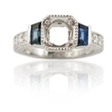 Diamond & Blue Sapphire Antique Style Platinum Engagement Ring Mounting