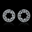 3.28ct Diamond 18k White Gold Cluster Earrings