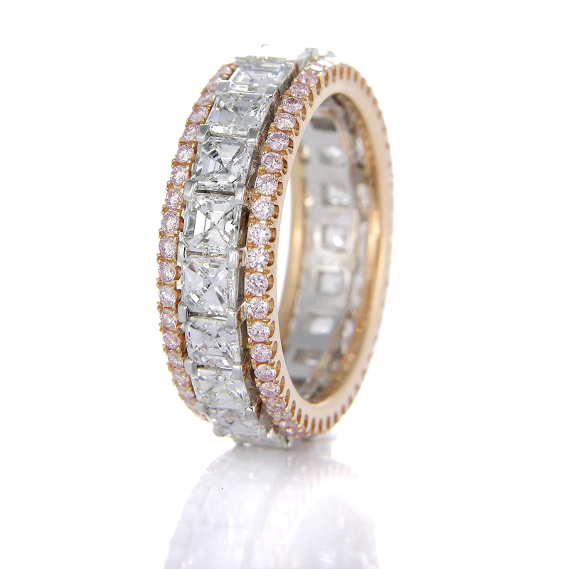 349ct Simon G Diamond Platinum and 18k Rose Gold Eternity Wedding