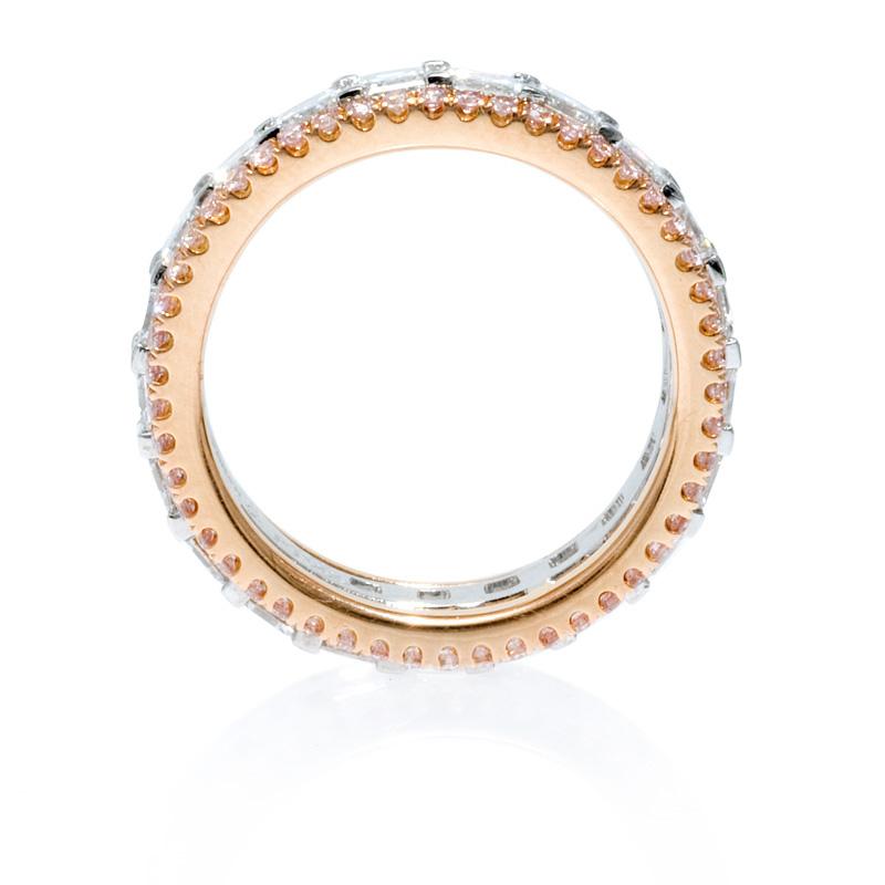 349ct Simon G Diamond Platinum And 18k Rose Gold Eternity Wedding Band Ring