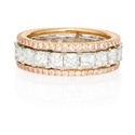 Simon G Diamond Platinum and 18k Rose Gold Eternity Wedding Band Ring