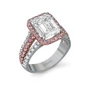 Simon G Diamond Antique Style 18K Two Tone Gold Engagement Ring
