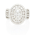 Diamond 18k White Gold Oval Cluster Right Hand Ring