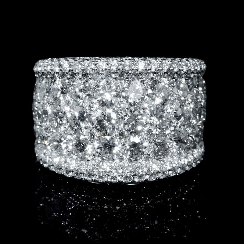 5 28ct Diamond 18k White Gold Wide Band Ring
