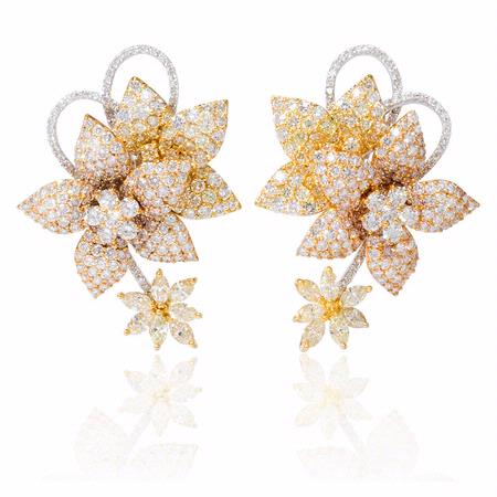 Diamond 18k Three Tone Gold Earrings