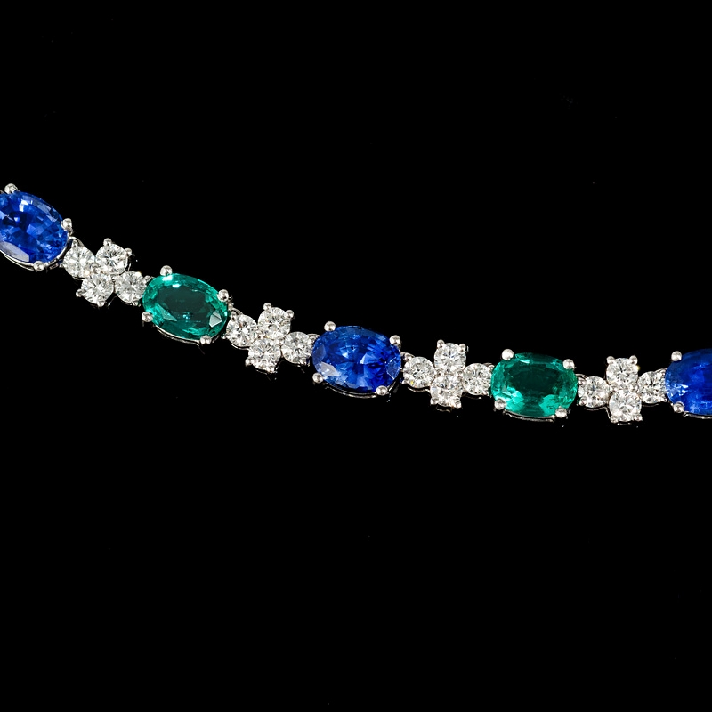 6 37ct Diamond Emerald And Ceylon Blue Sapphire 18k White