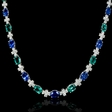 6.37ct Diamond Emerald and Ceylon Blue Sapphire 18k White Gold Necklace
