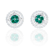 .54ct Diamond and Emerald 18k White Gold Earrings
