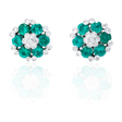 .21ct Diamond and Emerald 18k White Gold Earrings