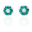 Diamond and Emerald 18k White Gold Earrings