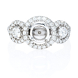 .81ct Simon G Diamond 18k White Gold Halo Engagement Ring Setting