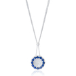 1.26ct Diamond and Blue Sapphire 18k White Gold Pendant Necklace
