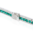 1.47ct Diamond and Emerald 18k White Gold Bracelet