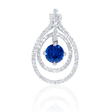.66ct Diamond and Blue Sapphire 18k White Gold Pendant