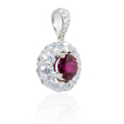 .76ct Diamond and Ruby 18k White Gold Pendant