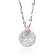 2.16ct Diamond 18k Two Tone Gold Pendant Necklace
