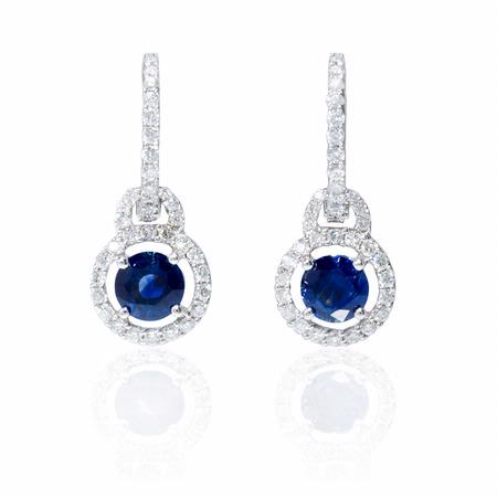 .70ct Diamond and Blue Sapphire 18k White Gold Dangle Earrings
