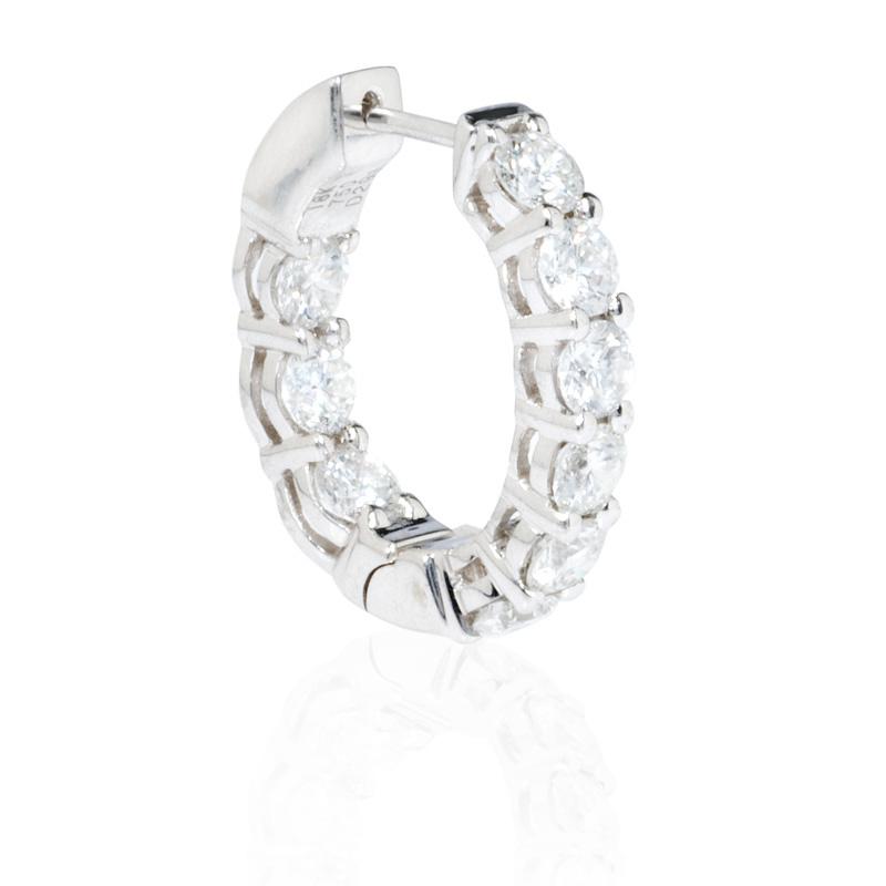 2 91ct Diamond 18k White Gold Huggie Earrings
