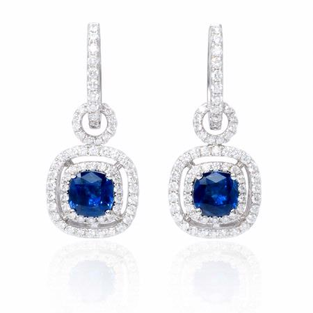 519a1799d6f6 Diamond and Ceylon Blue Sapphire 18k White Gold Dangle Earrings