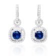 1.09ct Diamond and Ceylon Blue Sapphire 18k White Gold Dangle Earrings
