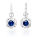 Diamond and Ceylon Blue Sapphire 18k White Gold Dangle Earrings
