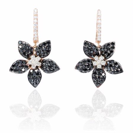 Diamond 18k Rose Gold and Black Rhodium Dangle Earrings