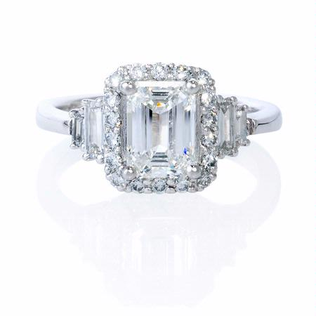 Diamond Platinum Halo Engagement Ring Setting