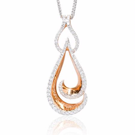 Simon G Diamond 18k Two Tone Gold Pendant Necklace