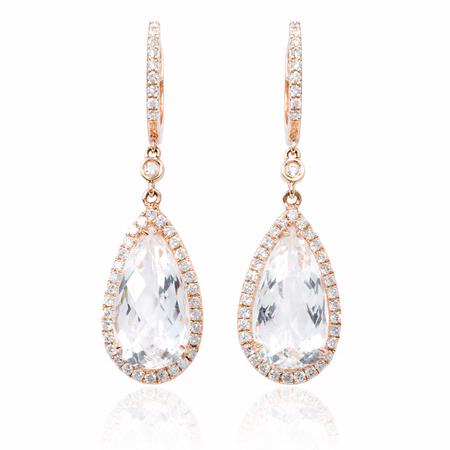 Diamond and White Topaz 14k Pink Gold Dangle Earrings