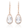 .68ct Diamond and White Topaz 14k Pink Gold Dangle Earrings