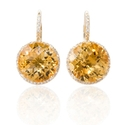 Diamond and Citrine 14k Yellow Gold Dangle Earrings