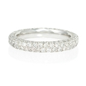 Diamond Pave Platinum Four Row Eternity Wedding Band Ring