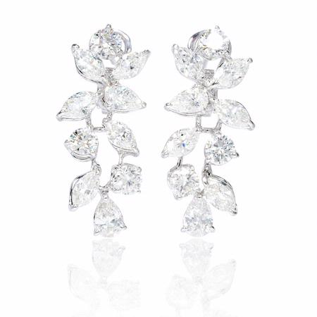 6.91ct Diamond 18k White Gold Dangle Earrings
