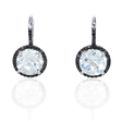 .18ct Diamond and White Topaz 14k White Gold and Black Rhodium Dangle Earrings