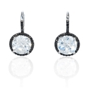 Diamond and White Topaz 14k White Gold and Black Rhodium Dangle Earrings