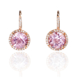 .18ct Diamond and Pink Amethyst 14k Pink Gold Dangle Earrings