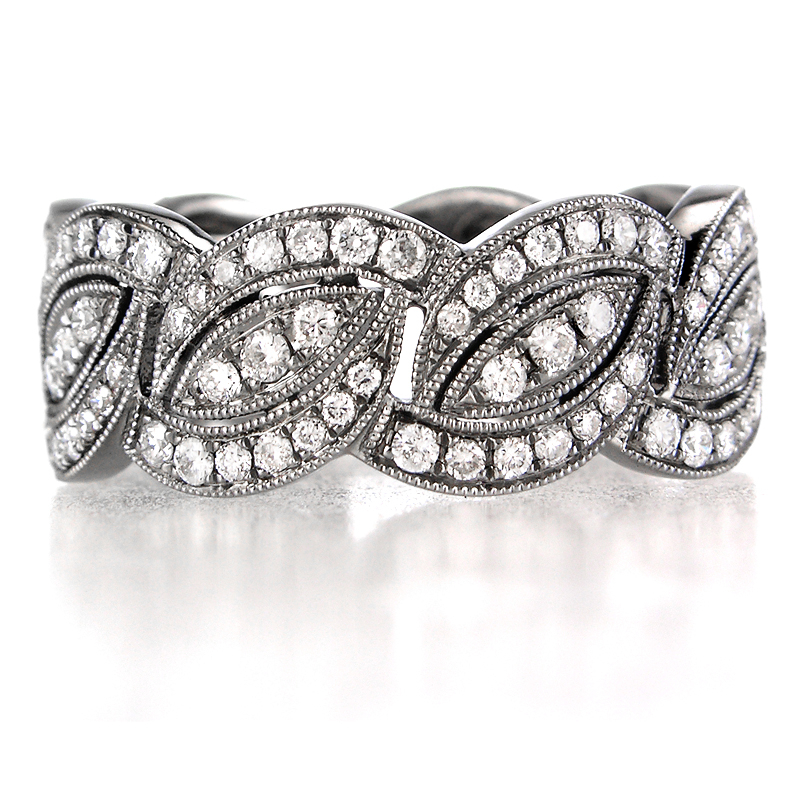 58ct antique style 18k white gold and black