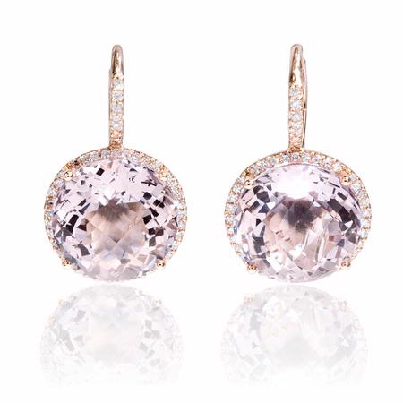 Diamond and Pink Amethyst 14k Pink Gold Dangle Earrings
