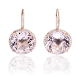 .30ct Diamond and Pink Amethyst 14k Pink Gold Dangle Earrings