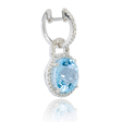 .35ct Diamond and Blue Topaz 14k White Gold Dangle Earrings