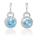 Diamond and Blue Topaz 14k White Gold Dangle Earrings