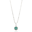 .24ct Diamond and Emerald 18k White Gold Pendant