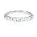 Diamond 18k White Gold Round Brilliant Cut Shared Prong Wedding Band Ring