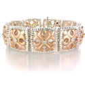 Charles Krypell Diamond 14k Rose Gold and Sterling Silver Bracelet